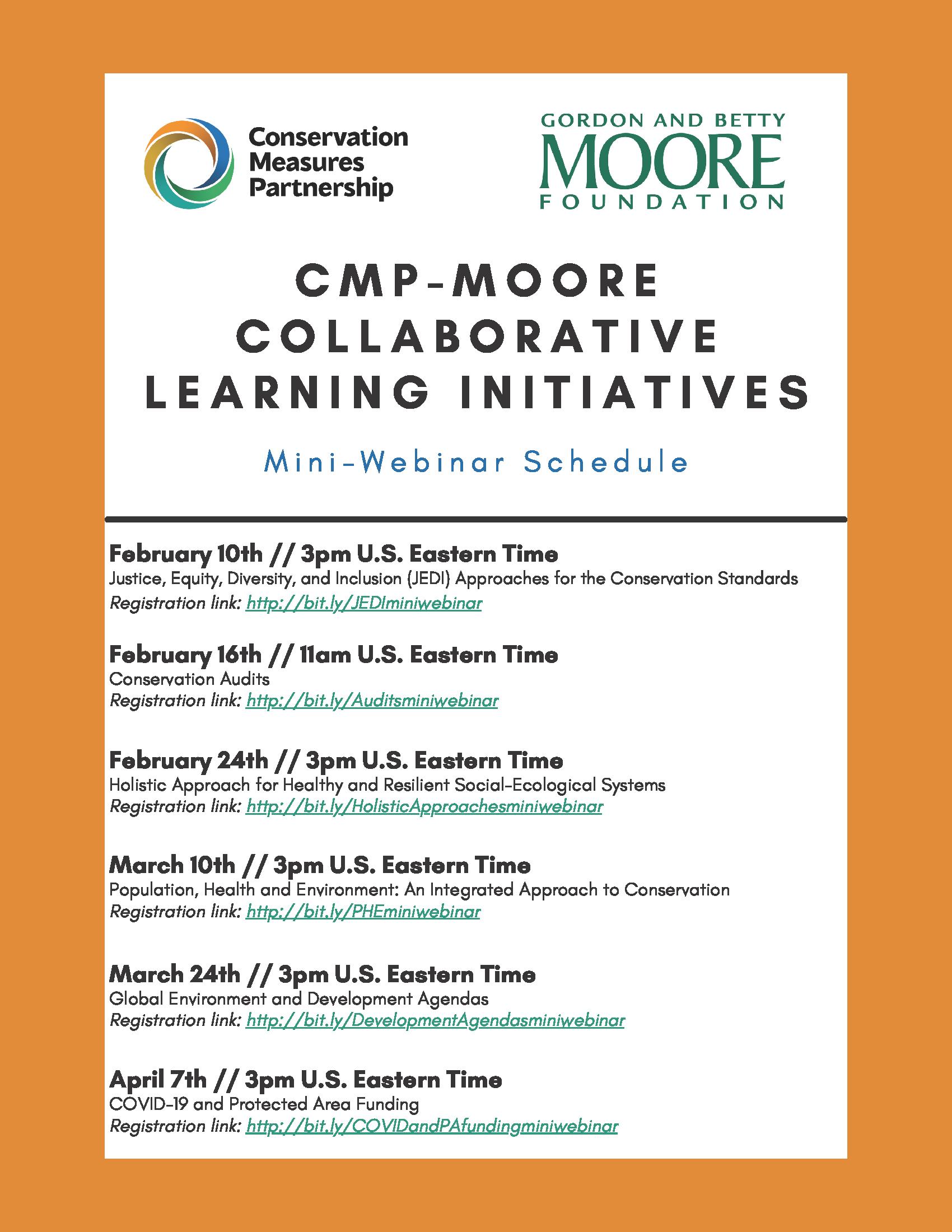 CMP-Moore Mini-Webinar Schedule